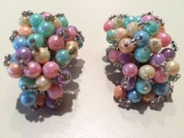 Wonderful Colorful Pastel Beads Plastic Handmade Clip On Earrings True V... - $44.55