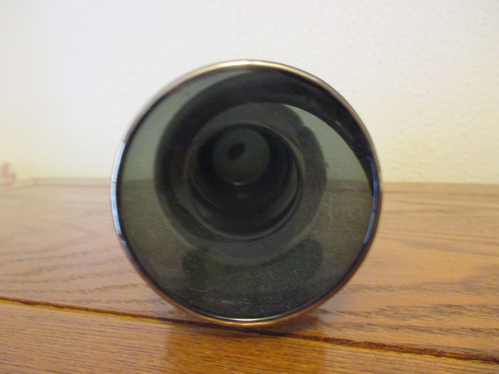 Vintage Studio 70's black/gray with silver glass  bud vase Enesco