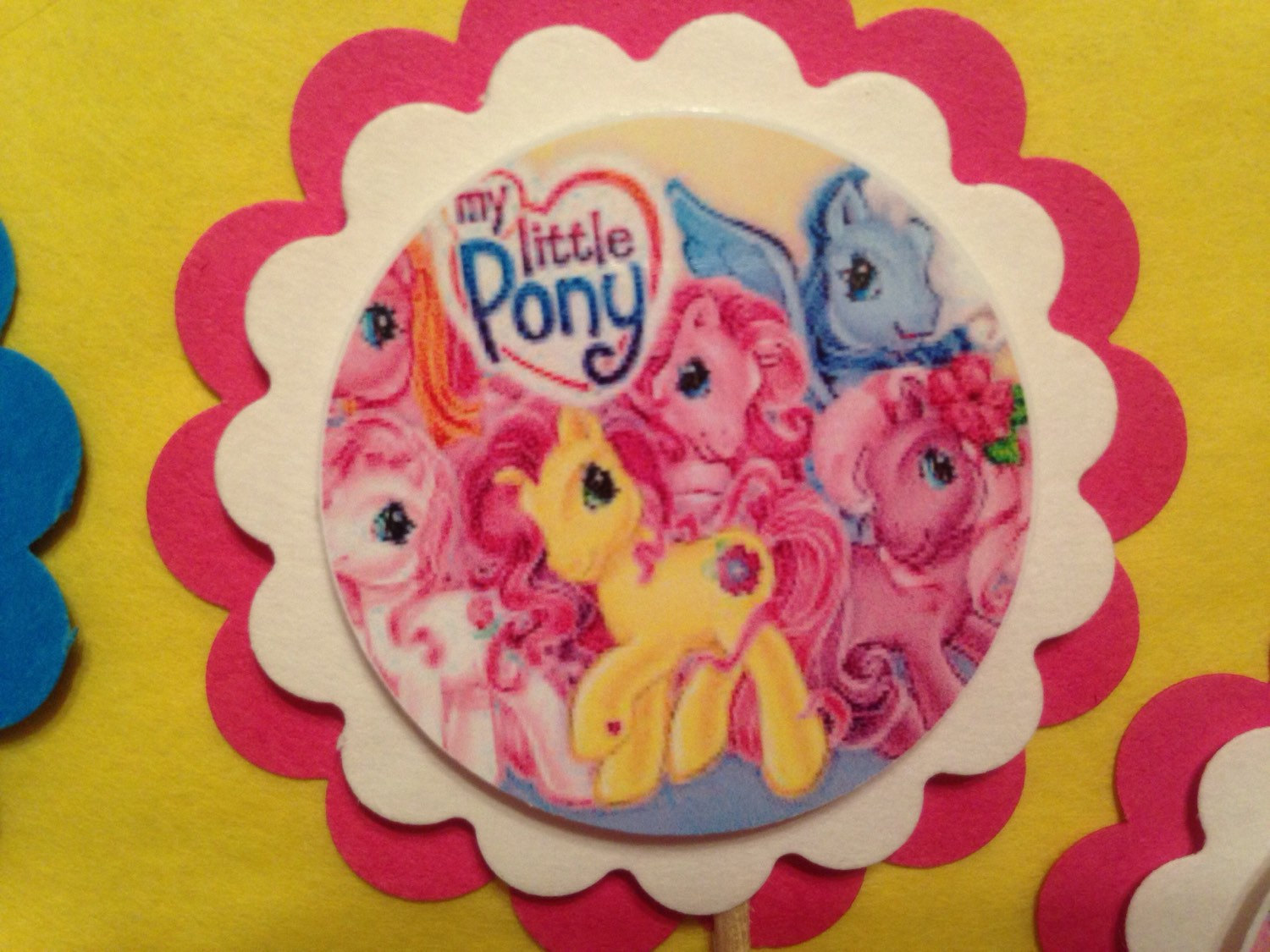 My Little Pony party 3-D cupcake toppers birthday party baby shower handmade, used for sale  USA