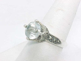 Solitaire CUBIC ZIRCONIA Vintage RING with Marcasite accents - Size 7 3/4 - $60.00