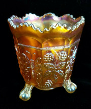 Fenton Marigold Orange Butterfly and Berry Carnival Glass Spooner Eagle ... - $39.55