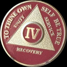 Pink & Silver Plated 4 Year AA Chip Alcoholics Anonymous Medallion Coin ... - $16.99