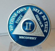 Blue & Silver Plated Any Year AA Chip Alcoholics Anonymous Medallion Coi... - $16.99