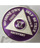 Purple & Silver Plated 20 Year AA Chip Alcoholics Anonymous Medallion Tw... - £12.45 GBP