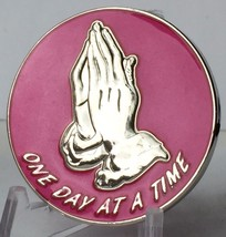 Praying Hands One Day At A Time Pink Silver Plated Medallion Serenity Prayer - $18.99