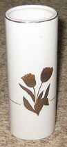"White 6.5"" Ceramic Otagiri Japan Vase w Goldtone Embellished Tulips - $14.81"