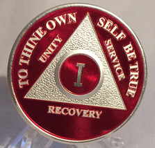 Red Silver Plated Twenty Year AA Chip Alcoholics Anonymous Medallion Coi... - $16.99