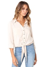 Apricot Crushed Linen Button-Down Casual Shirt  - $19.19