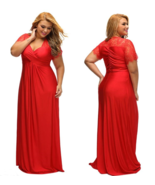 Lace Wrap Style Long Cocktail Evening Party Gown Dress  Red Blue Black o... - $29.69