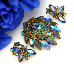 Juliana Style AB Rhinestone Vintage Brooch Earrings Set With Open Gold L... - €46,26 EUR