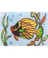 Akimova: TROPICAL FISH, sea,animal,ACEO - $4.99