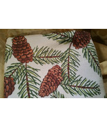 Pinecone Fabric Tablecloth Woodsy Nature Rustic Cabin St Nicholas Square... - $22.97