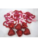 """Valentines Day Shiny Red Hearts 2.5"""" & Garland Ornaments Decorations Decor - $25.99"""