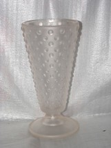 """Vtg 8"""" Hobnail Frosted Pink Frosted Centerpiece... - $22.28"""