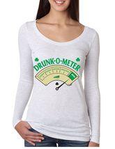 Women's Long Sleeve Shirt Saint Patrick's Day Drunk O Meter Irish Shirt - $19.00
