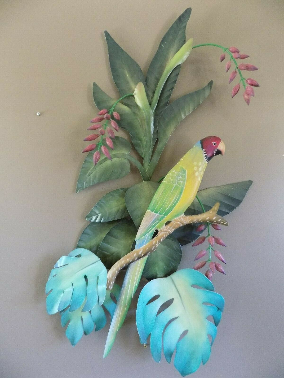 "Large Parrot Wall Hanging  Metal   31 x 23"" Coastal Decor image 3"