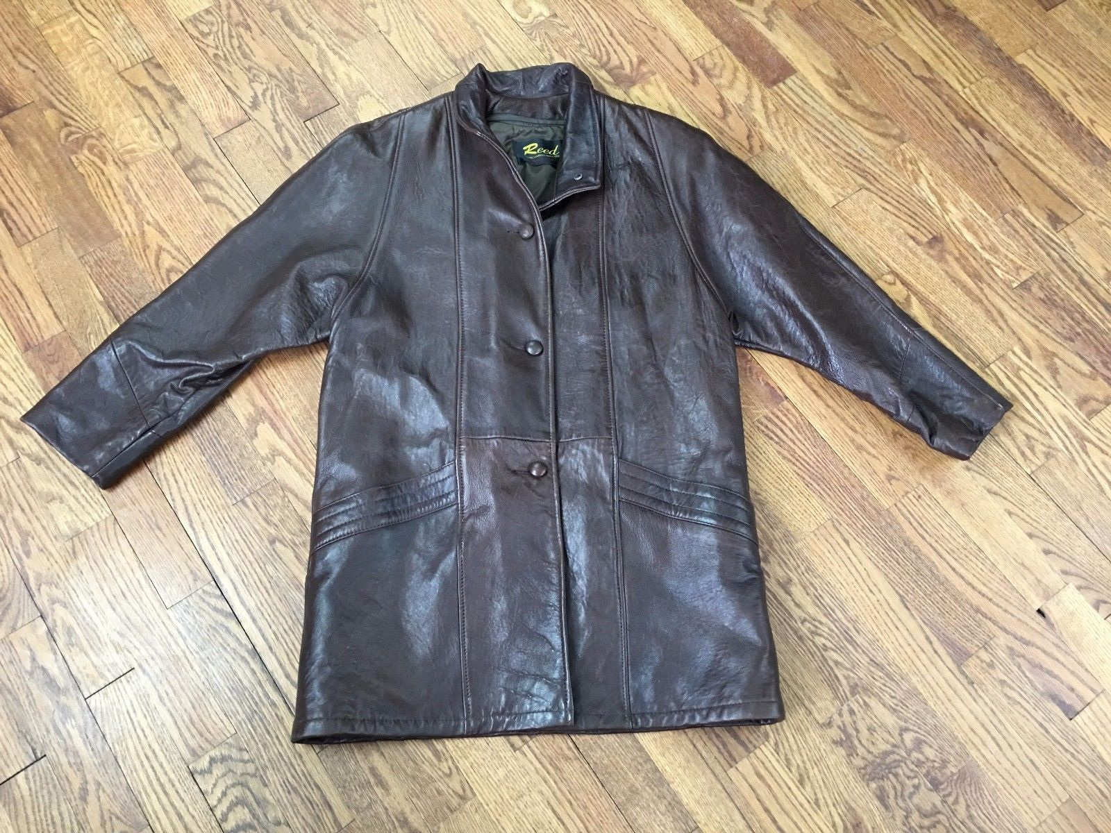 VINTAGE REED SPORTSWEAR WOMENS BROWN GENUINE LEATHER JACKET BUTTON FRONT Sz 12