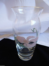 Vintage Czech Bohemian crystal clear glass bud vase pink orchard pattern... - $24.75