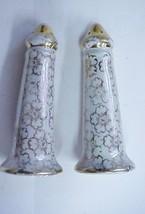 Vintage Gold Floral Porcelain Castle Salt & Pepper Shakers Estate #12 - $11.95