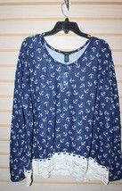 New Womens Plus Size 3 X Blue Anchor Burnout Shirt Top W White Crochet Hem - $14.50