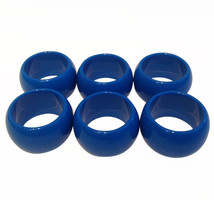 6 Blue Fun Elegant Reusable Round Plastic Napkin Rings - $6.88