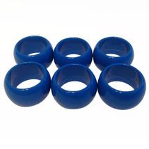 6 Blue Fun Elegant Reusable Round Plastic Napkin Rings - $6.88