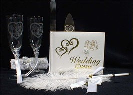 Bears, Panda Teddy Black Wedding LOT Guest book Glasses Knife Server set Garter - $83.16