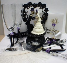Day of the DEAD Purple Halloween Wedding Cake Topper LOT Glasses Knife Skeleton - $163.15