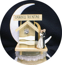 CANOES Boating Camping Fishing Lake beach Cabin Funny bride & Groom top Ornament - $33.41
