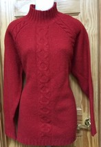 New Womens Lands End Firebrick Red Wool Mockturtle Cable Sweater Size M ... - $31.29