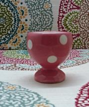 Vintage Pink & White Ceramic Polka Dot Egg Cup ... - $4.50