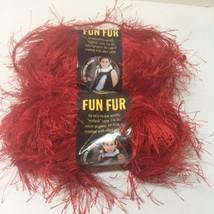 2 Skeins Fun Fur Lion Brand 1.75oz Eyelash Red Bulky Polyester - $6.89