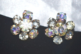 Vintage Aurora Borealis Rhinestone Earrings - $12.00