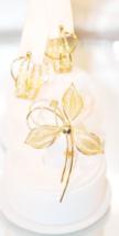 Vintage Gold Tone Filigree Brooch and Earrings - $18.00