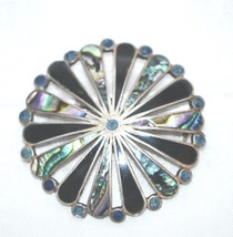 Vintage Signed Taxco Sterling Abalone Onyx Brooch - $89.00