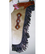 WESTERN REAL HAIR ON LEATHER SADDLE HORSE LARGE CHINKS / CHAPS  RODEO GY... - $139.90
