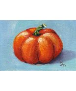 Akimova: PUMPKIN , food,Halloween,still life,ACEO - $5.99