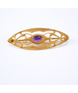 Victorian Amethyst Brooch Antique purple stone ... - $125.00