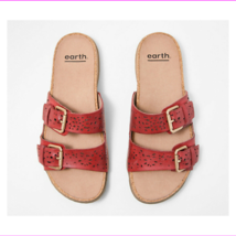 Earth Perforated Leather Slide Sandals- Sand Antigua Bright Red 8.5 M - $63.04