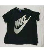 Vintage Nike Shirt Sz XL Black Big Swoosh Spell Out Air Y2K Blue Label - $26.43