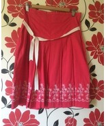 Della Spiga Red Skirt with White Floral Embroidery at bottom, size 10 - $8.00