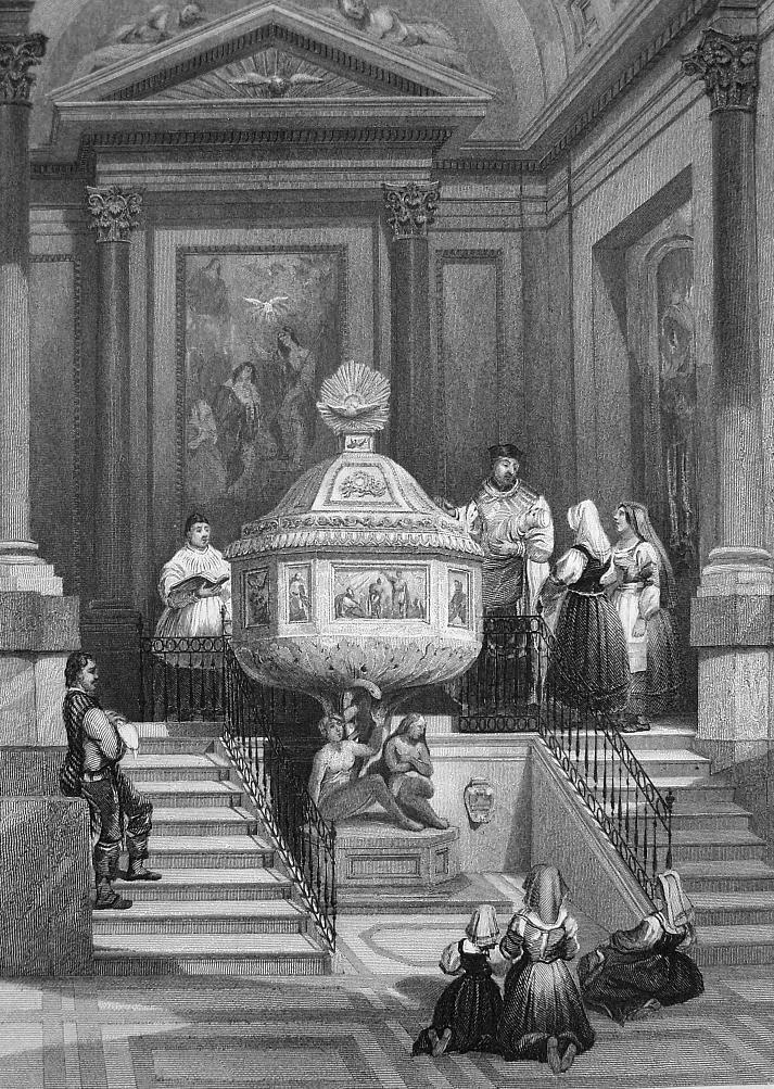 Primary image for ITALY Baptismal Font, Cathedral at Palermo Sicily - 155 Years Old Antique Print