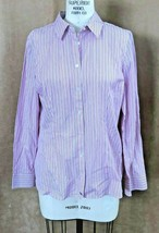 L Tommy Hilfiger button front Shirt women striped pink long short sleeve blouse - $28.50