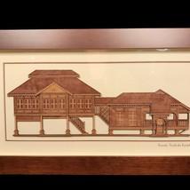 Handmade 2 D Wood Art of Malaysian Rumah Traditional Stilt House - $110.00