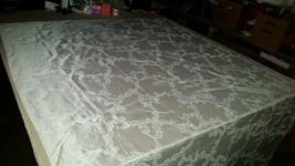 Vintage Large Synthetic Fabric Tablecloth 122 x 59 inches - $14.99