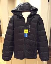 Nautica Down Jacket Hooded Black New Coat Mens M Ultra Light - $69.99