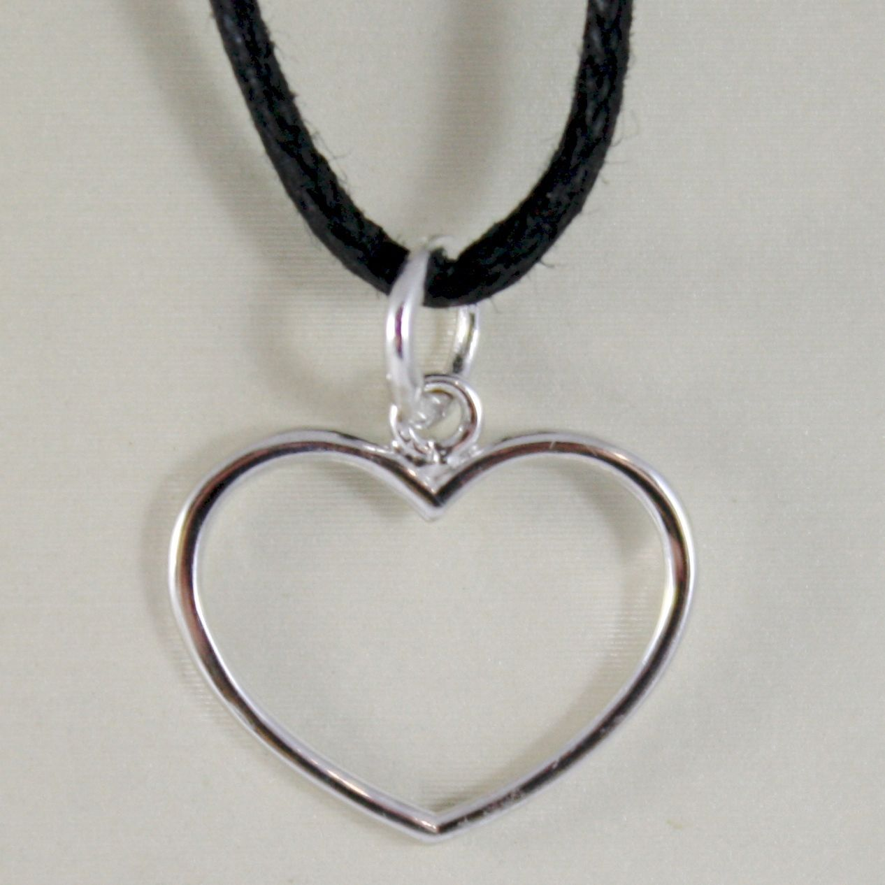 18K WHITE GOLD HEART PENDANT CHARM, 17 MM, LUMINOUS, BRIGHT, MADE IN ITALY