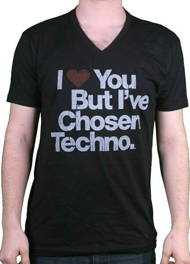 I Love You But I'Ve Chosen Techno Herren Schwarz V-Ausschnitt Größe: XL