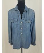 Cloth & Stone Donna S Camicetta Jeans Chambray Muffin Scheda Pulsante Ma... - $27.72
