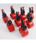 Rooster Chicken Ceramic Napkin Rings Set of 8 Picnic Luncheon Farmhouse ... - $25.69